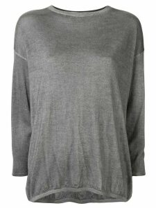 Avant Toi long-sleeve fitted top - Grey