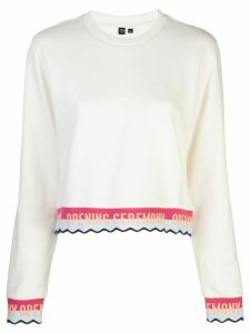 Opening Ceremony stripped ribbed sweatshirt - White