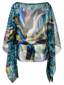 Roberto Cavalli abstract print silk blouse - Blue