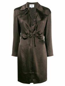 Nanushka lace-up detail dress - Brown