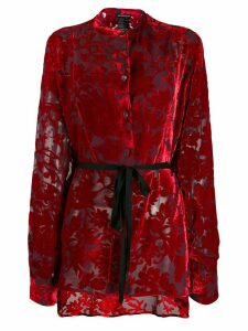 Ann Demeulemeester tie waist floral pattern blouse - Red