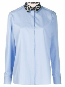 Paul Smith leopard-print collar shirt - Blue