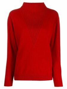 Pringle of Scotland Trompe L'oeil rib-neck jumper In Red