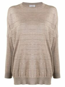 Brunello Cucinelli dropped shoulder striped sweater - NEUTRALS