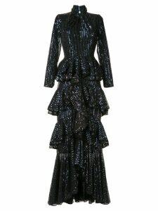 Ingie Paris ruffle long-sleeve maxi dress - Blue