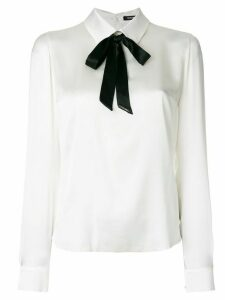 Styland pussy-bow long sleeve blouse - White
