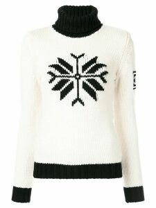 Chanel Pre-Owned funnel neck intarsia jumper - White