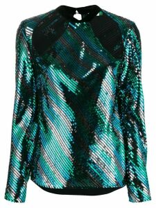 Rixo cut out sequin-embellished blouse - Blue