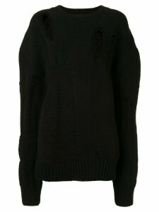 Ann Demeulemeester distressed oversized jumper - Black