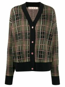 Marni checked boxy cardigan - Black