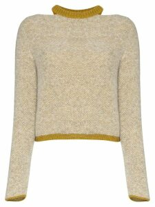Eckhaus Latta two-tone cut-out neck jumper - NEUTRALS