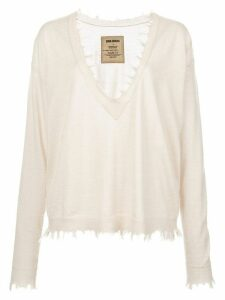 Uma Wang distressed fine knit jumper - White