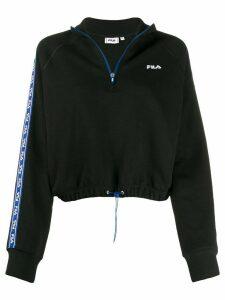Fila cropped logo stripe sweater - Black