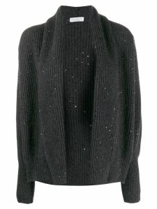 Brunello Cucinelli sequin embroidered open front cardigan - Grey