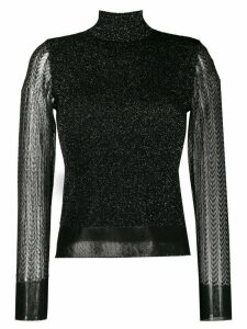 Rag & Bone sheer sleeved roll neck jumper - Black