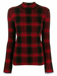 Juun.J mock-neck plaid knit top - Red