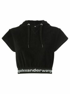 T By Alexander Wang hooded crop top - Black