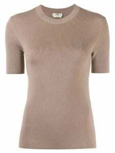 Fendi embroidered chest logo jumper - NEUTRALS