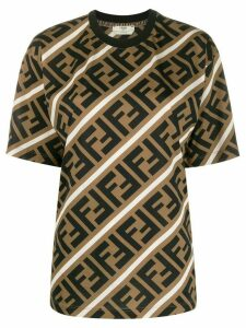 Fendi diagonal FF motif T-shirt - NEUTRALS