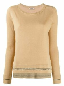 Twin-Set fine knit logo stripe sweater - NEUTRALS