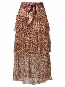 Zimmermann leopard print midi skirt - Brown