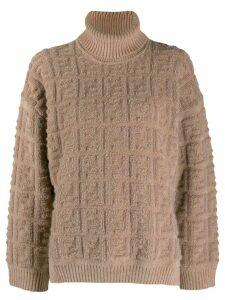 Fendi FF pattern roll neck jumper - NEUTRALS