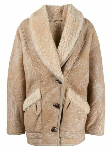 Isabel Marant shearling lined leather jacket - NEUTRALS