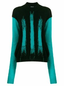 Ann Demeulemeester colour-block intarsia jumper - Black