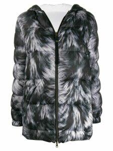 Mr & Mrs Italy fur-print feather down jacket - Black