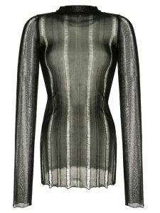 Yang Li sheer roll-neck top - Black