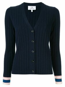CK Calvin Klein stripe detail ribbed cardigan - Blue