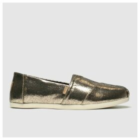 Toms Gold Alpargata Metallic Flat Shoes