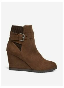 Womens Taupe 'Acorn' Wedge Boots- White, White