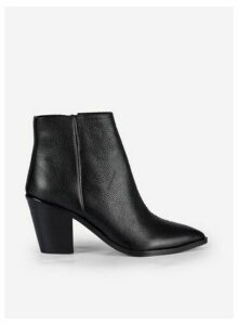 Womens Black 'Ocean' Leather Ankle Boots, Black