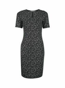 Womens Petite Black Shimmer Bodycon Dress, Black