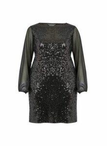 Womens **Billie & Blossom Curve Black Sequin Shift Dress, Black
