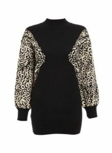 Womens *Quiz Black Leopard Print Turtle Neck Jumper, Black