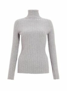 Womens *Quiz Grey Ribbed Polo Neck Knitted Top, Grey