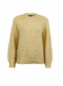 Womens Gold Eyelash Tinsel Jumper, Gold