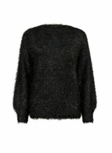 Womens Black Eyelash Tinsel Jumper, Black
