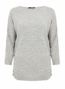 Womens Quiz Light Grey Knitted Embellished Top, Grey