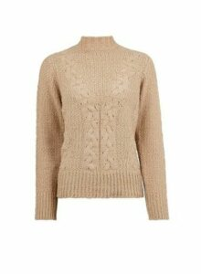 Womens Brown Chenille Cable Knitted Jumper- Beige, Beige