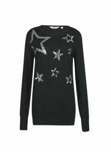 Womens Tall Black Sequin Star Jumper, Black