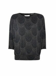 Womens **Billie & Blossom Black Glitter Deco Top, Black
