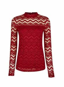 Womens Red Zig Zag Lace Top, Red