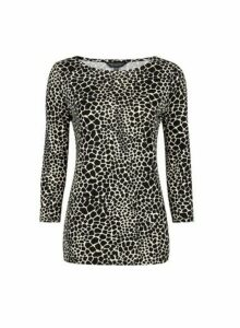 Womens Black And White Croc Print � Sleeve Cotton T-Shirt, Black