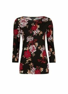 Womens Black Floral Print ¾ Sleeve Cotton T-Shirt, Black