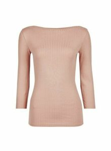 Womens Organic Cotton Blush Rib Boat Neck T-Shirt - Pink, Pink