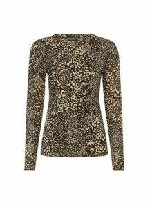 Womens Brown Non-Animal Printed Mesh Top, Brown
