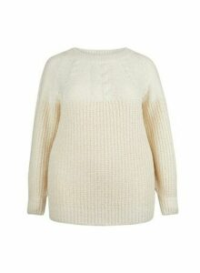 Womens Dp Curve Ivory Cable Jumper - White, White